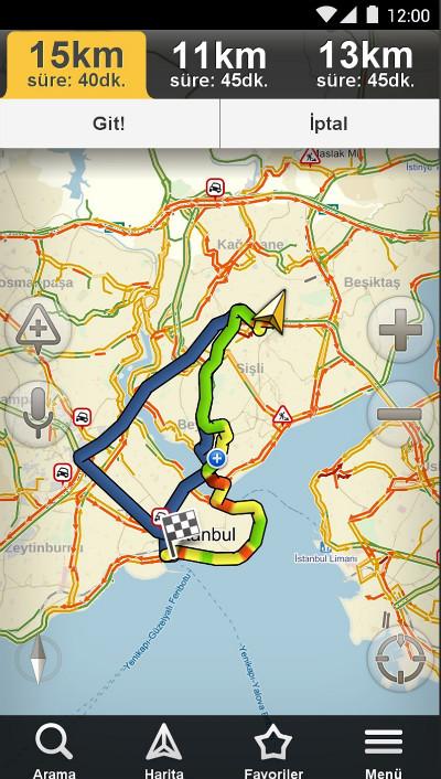Yandex Navigasyon Harita Rota