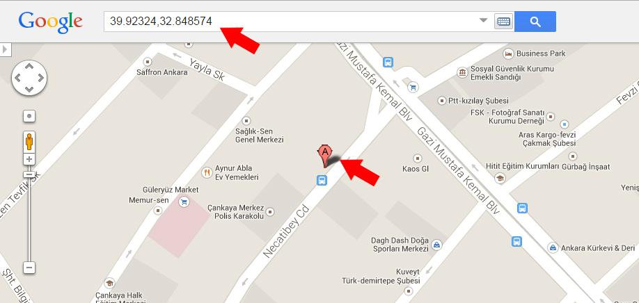 Google Haritalarda Mekan Koordinatları