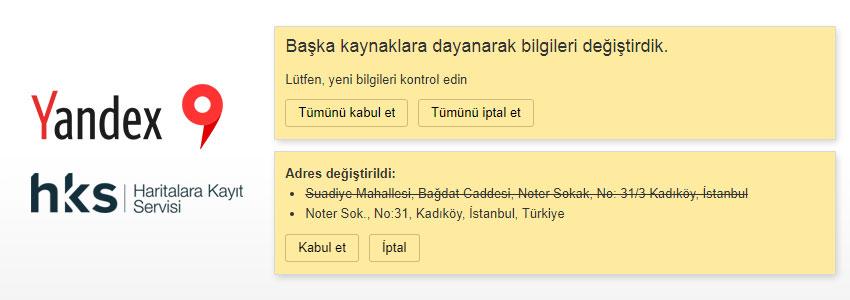 Yandex Haritada Güncelleme Ekranı