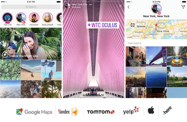 Instagram konum bildirimlerini içeren ekran görüntüleri